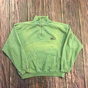 Tommy Bahama Relax Large Quarter-Zip Green Crew